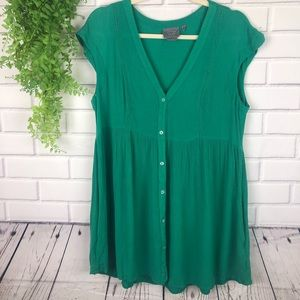 Anthropologie Green Tunic Top Pockets Rayon Size M